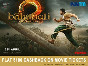 Discount Coupon Bahubali2 Movie Tickets